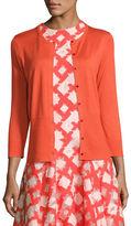 Lela Rose 3/4-Sleeve Button-Front Cardigan