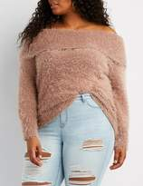Charlotte Russe Plus Size Feather Knit Off-The-Shoulder Sweater