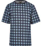 River Island MensBlue check short sleeve t-shirt