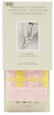 Swedish Stockings - Greta Tartan-jacquard 20-denier Socks - Pink Multi