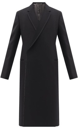Paul Smith Topstitched Wool-blend Double-breasted Overcoat - Black