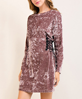 Mocha & Gray Crushed Velvet Lace-Up Shift Dress