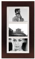 "Malden International Designs Manhattan 3-Opening Matted Collage Frame - Walnut Wood - 5"" x 7"""