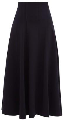 Norma Kamali Grace Raw-seam Flared Midi Skirt - Navy