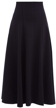 Norma Kamali Grace Raw-seam Flared Midi Skirt - Womens - Navy