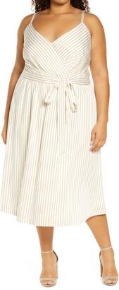 City Chic Estelle Stripe Faux Wrap Dress