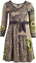 Aller Simplement Green & Black Geometric Tie-Waist A-Line Dress - Plus Too