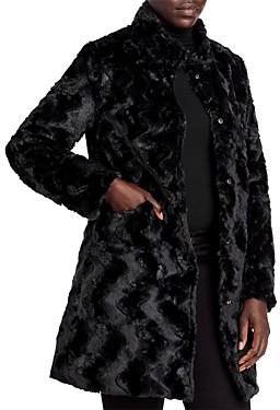 Via Spiga Reversible Crushed Faux Fur Coat