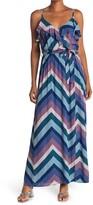 Thumbnail for your product : Love Stitch Chevron Stripe Ruffle Maxi Dress