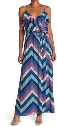 Love Stitch Chevron Stripe Ruffle Maxi Dress