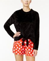 Hue Fleece Top and Printed Boxer Pajama Shorts Set