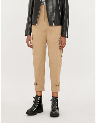 Pinko Tender trousers cropped high-rise tapered crepe trousers
