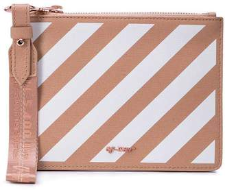 Off-White Off White diagonal stripe zipped pouch nude