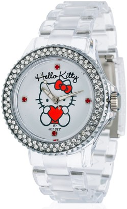 Hello Kitty Girl's Quartz Watch with White Dial Analogue Display and Gold Plastic Transparent