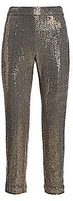 Badgley Mischka Women's Stretch Sequin Slim Ankle Pants