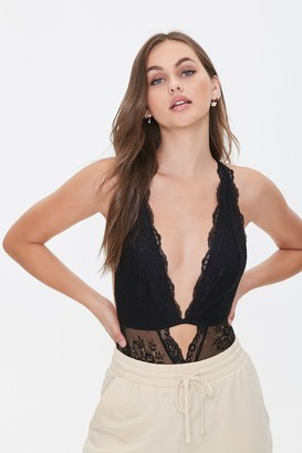 Forever 21 Plunging Cutout Lace Bodysuit