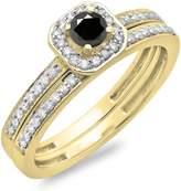 DazzlingRock Collection 0.55 Carat (ctw) 14K White Gold & White Diamond Halo Engagement Bridal Ring Set 1/2 CT (Size 6)