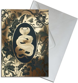 The Curious Department Elemental Cobra Gold Greeting Cards Pack Of 10