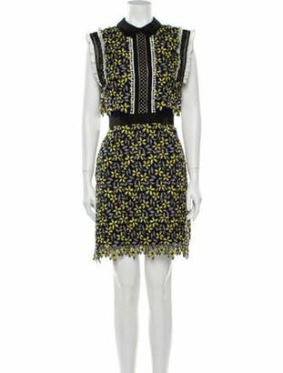 Self-Portrait Lace Pattern Mini Dress w/ Tags Yellow