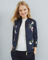 Ted Baker Spring Meadow Embroidered Bomber Jacket Dark Blue