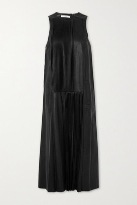 Tibi Pleated Faux Leather Midi Dress - Black
