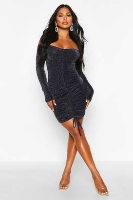 boohoo Glitter Shimmer Ruched Front Bodycon Dress