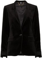 Frame stand-collar embroidered blazer