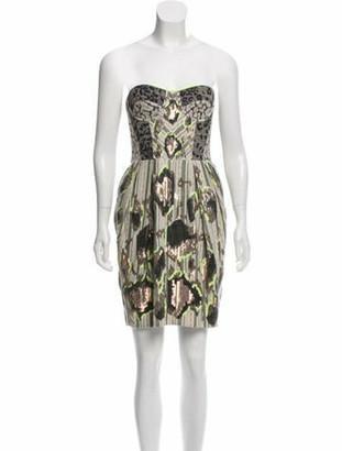 Matthew Williamson Embellished Strapless Dress Grey