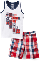 Ecko Unlimited Red & White Geometric Tank & Plaid Shorts - Infant & Toddler