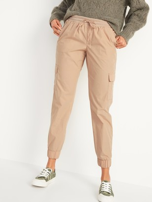 Old Navy Mid-Rise Rib-Knit Waist Soft-Woven Cargo Jogger Pants for Women