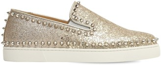 Christian Louboutin 20mm Pik Boat Glittered Sneakers