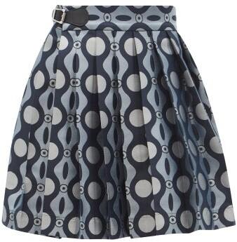 Thumbnail for your product : Charles Jeffrey Loverboy Caterpillar-jacquard Pleated Mini Kilt Skirt - Blue