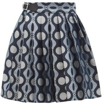 Charles Jeffrey Loverboy Caterpillar-jacquard Pleated Mini Kilt Skirt - Blue