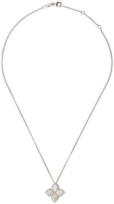 Roberto Coin 18kt white gold Princess Flower diamond pendant necklace