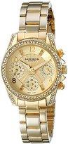 """Akribos XXIV Women's """"AK710YG"""" Multifunction Diamond & Crystal Gold-Tone Bracelet Watch"""