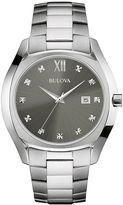 Bulova Diamonds Mens Diamond-Accent Stainless Steel Watch 96D122