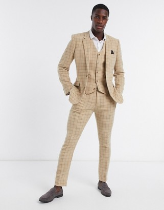 ASOS DESIGN wedding skinny wool mix suit waistcoat in camel houndstooth check
