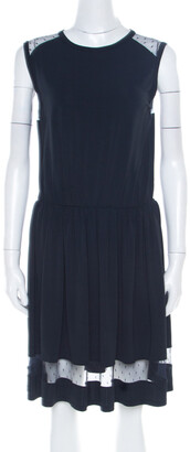 RED Valentino Navy Blue Sheer Lace Panel Insert Sleeveless Sheath Dress XL