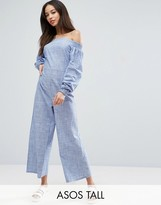 ASOS Tall ASOS TALL Off Shoulder Jumpsuit in Cotton Shirting and Stripe