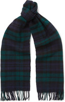 Drake's - Easyday Fringed Black Watch Checked Wool Scarf