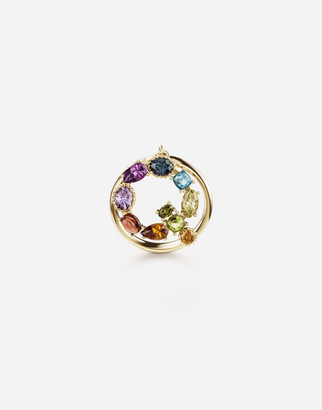 Dolce & Gabbana Rainbow Alphabet Q 18 Kt Yellow Ring With Multicolor Fine Gems