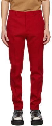 Ami Alexandre Mattiussi Red Wool Cigarette Fit Trousers
