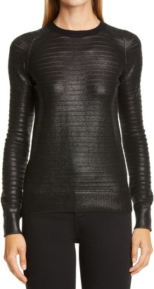 Saint Laurent Metallic Embossed Rib Sweater