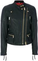 Burberry biker jacket - women - Lamb Skin/Polyester/Acetate/Viscose - 6