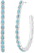 Lucky Brand Turquoise Stone Hoop Earrings