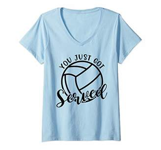Womens You Just Got Served Volleyball School Sports Funny V-Neck T-Shirt