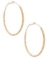 Gold Beaded Large Hoop Earring