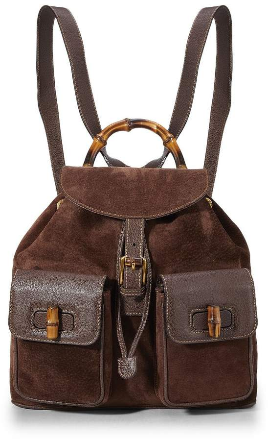 Gucci Brown Suede & Leather Bamboo Backpack Large