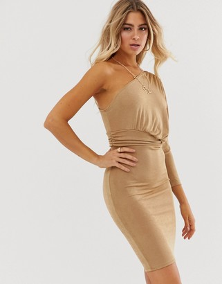 In The Style One Shoulder Acetate Slinky Midi Dress