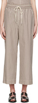 3.1 Phillip Lim White & Brown Striped Wide-Leg Trousers
